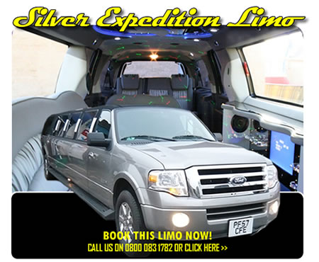 Ford Expedition 'Hummer Limo' In Silver